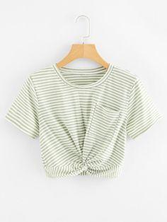 Striped Twist Front Crop TeeFor Women-romwe