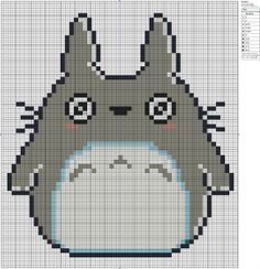 Totoro by Makibird-Stitching on DeviantArt Cross Stitching, Cross Stitch Embroidery, Embroidery Patterns, Cross Stitch Patterns, Bead Patterns, Kawaii Cross Stitch, Cute Cross Stitch, Crochet Cross, My Neighbor Totoro