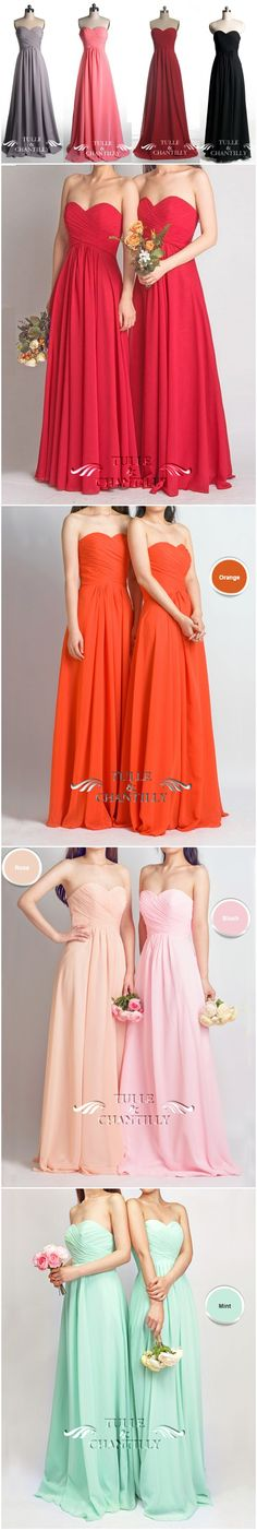 Long Sweetheart Strapless Bridesmaid Dresses- Grey, Wine,Flame,Coral Pink, Aubergine,Platinum, Black, Mint, Orange, Rose, Blush- See more at: http://www.tulleandchantilly.com/long-fame-red-sweetheart-strapless-bridesmaid-dress-p-391.html