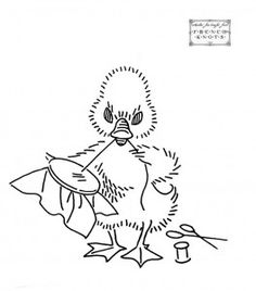 duck / duckling embroidering - vintage embroidery pattern