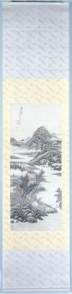 Zhu Henian | Kluizenaar in de bergen, Zhu Henian, , , 1775 - 1834 | Hangrol met een kluizenaar in de bergen.