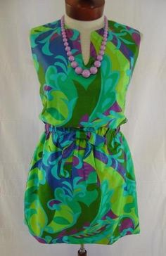 93bd1906dbe7 RARE FABULOUS VINTAGE 1960s CUSTOM MADE COLORFUL PSYCHEDELIC MOD HAWAIIAN  TIKI ROMPER SUN PLAY SUIT CULOTTES