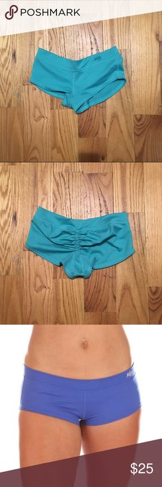 Mika Yoga Wear Kiki Shorts These shorts are definitely the light blue ones featured on the first two images. I just added the screenshots from Mika to show the fit. They have only been worn a few times. Excellent condition. S/M Mika Yoga Wear Shorts