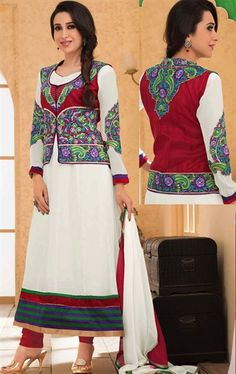 Enigmatic Off White and Red Color Fashion Salwar Kameez