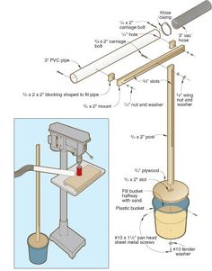 """Dust Cannon by Pete Burgoyne -- Homemade dust cannon consisting of an adjustable boom mounted to a wooden stand and post. Barrel is a 3"""" thin-walled PVC pipe. Utilized in conjunction with a shop vacuum for collection of sawdust. http://www.homemadetools.net/homemade-dust-cannon"""