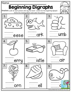 Below are six versions of our phonics worksheet on identifying consonants digraphs. Students circle the consonant digraph whose sound matches the word . Digraphs Worksheets, Reading Worksheets, School Worksheets, Grade 1 Worksheets, Kindergarten Worksheets, Kindergarten Classroom, Teaching Phonics, Teaching First Grade, Math Literacy