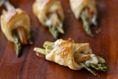 flagship cheese, asparagus, and pear wrapped in puff pastry