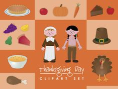 Thanksgiving clip art set 82 png images  commercial use
