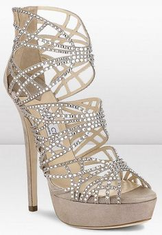 Jimmy Choo Damek Shimmer Suede Sandals with Hotfix Crystals