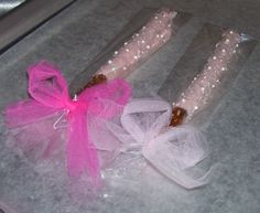 Wedding Favors Tutus and Pearls Theme  Pink Chocolate Pretzel Rods tied with a Tulle Bow #WeddingFavor