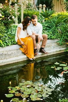 garden and pond engagement... love this yellow maxi skirt!!