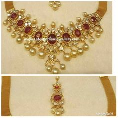 Ruby Jewelry, Jewelery, Jewelry Necklaces, South Indian Jewellery, Indian Jewelry, Gold Ornaments, Stone Pendants, Blouse Designs, Costume Jewelry