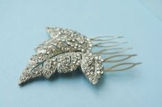 Vintage Ivy Leaf Hairpiece Bridal Rhinestone Comb by beadboxsupply, $12.95