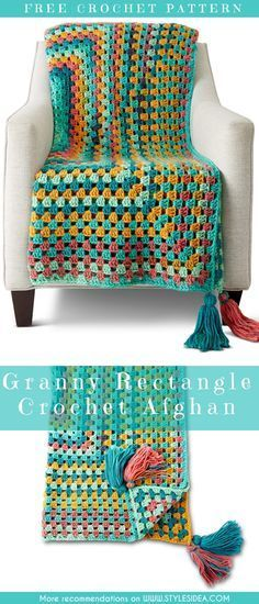 Crochet → Blanket Afghan | Written | US Terms Level: beginner hook: 3.5mm Yarn Caron Chunky Cakes size: any author: yarnspirations Easy to make for everyone, works up very quickly, choose the best colours and start your fast project. #freecrochetPatterns #afghan #freecrochetPatternsforafghan #freecrochetPatternsforblanket #crochetstitch #crochet #crochetfreepatternsforhome #grannyAfghan
