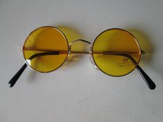 Sunglasses John Lennon Style Yellow Glasses 70s Vintage Round Hippie Retro New