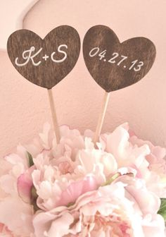 Personalized Heart Shape Wedding Cake Topper - Rustic