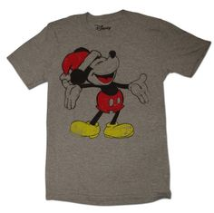 Classic Disney Mickey Mouse with Santa Hat Holiday T-Shirt 72d30de79d3fb