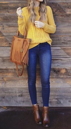 Women's Ankle Boots Outfit With Yellow Sweater And Jeans Women's Ankle Boots Collection: Looking for a trendy new pair of ankle boots to wear with an outfit similar to this one? Check out our amazing collection of women's ankle boots… Continue Reading → Business Casual Outfits, Casual Winter Outfits, Winter Fashion Outfits, Classy Outfits, Look Fashion, Stylish Outfits, Woman Fashion, Hijab Fashion, Street Fashion