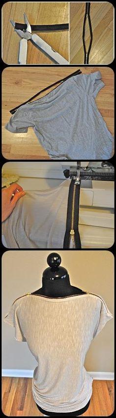Recycling : T-shirt Zipper Neck