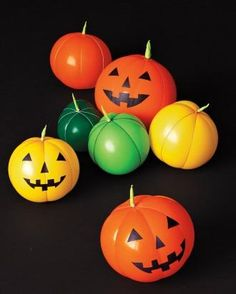 "Can you guess what these colorful ""pumpkins"" are made out of?"