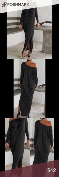 "❗️Last One❗️Loose-Fit Off-Shoulder Jersey Maxi Price is firm. No offers please..                  Black, loose-fit, off-shoulder Maxi Dress.  100% cotton.  Made to be worn off shoulder...one sleeve is longer than other for an even fit.            Measurements:                                                           Medium:  Bust: 42.5""   Length: 56""                          Large:      Bust:  44""     Length: 57""                         #RW601154 Dresses Maxi"