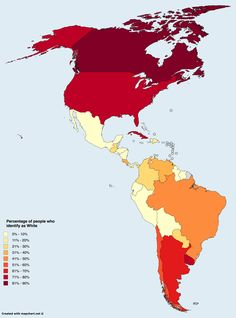 Percentage of people who identify as White in the Americas.