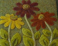 Autumn wool applique primitive wall by HorseAndBuggyCountry