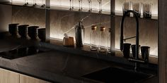 Shaping Slick Dark Interiors With Black & Grey Decor Glass Front Cabinets, Black Cabinets, Black Dining Set, One Wall Kitchen, Single Hung Windows, Decoration Gris, Dark Living Rooms, Traditional Fireplace, Modern Sectional