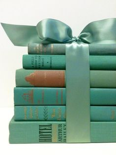 / bundle of vintage books in aqua tied with a bow / nice décor arrangement or centerpiece for a ladies book club event, tea, shower, etc. Verde Tiffany, Azul Tiffany, Tiffany Blue, Sage Books, Green Books, Shades Of Turquoise, Shades Of Green, Color Menta, Mint Color