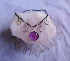 pastel goth celestial necklace moon necklace by OfStarsAndWine, €13.00