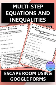 This engaging LOW PREP multi-step equations and inequalities escape room is just what your Algebra or 8th grade students need for a fun, challenging review! This resource is a worksheet alternative that uses google forms to practice solving multi-step equations and inequalities, literal equations, algebraic proportions, and verifying solutions. Give it a try and see how engaged both you and your students will be! #Google Forms #multi-step equations #escape room #equations #inequalities Literal Equations, Solving Equations, Math Activities, Teaching Resources, Secondary Math, 8th Grade Math, Algebra 1, Math Stations, Escape Room