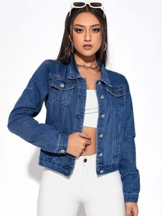 Ripped Trucker Denim Jacket | SHEIN EUR Denim, Jackets, Coat, Collection, Shopping, Women, Fashion, Down Jackets, Moda