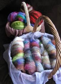 Our Junkyard Fairy Fiber Batts and other rovings, ready to spin!  Made by custom order at www.syrendell.etsy.com.