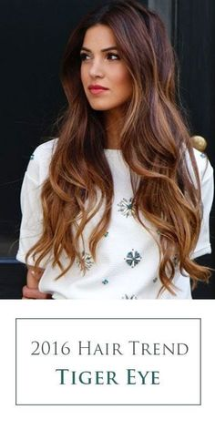 Tiger Eye hair color! Aka the perfect blend of warm browns and ribbons of caramel highlights. A stunning 2016 hair color trend for brunettes!