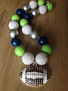 Who's ready for football season?? Seahawks necklace.. Football necklace.. Chunky by GirlzNGlitter, $19.00