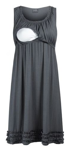 Ruffle Hemmed Maternity & Nursing Lounge Dress. I laughed at this for a good 30 seconds before I realize how handy it would be. Because I'm a perpetual 13 year old and boobs are funny.
