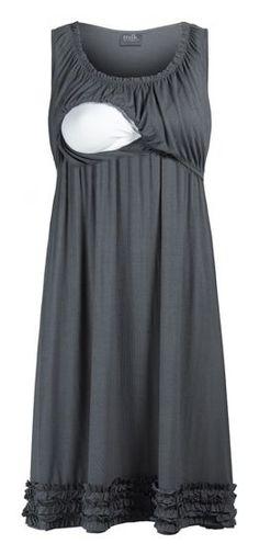 Ruffle Hemmed Maternity & Nursing Lounge Dress.