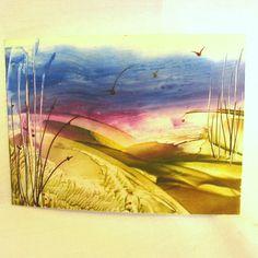 ACEO.Original encaustic art. Wax Painting.  Autumn Gold