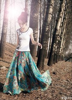 2013 Chiffon floral printed Bohemian Long Maxi Skirt Fashion Women's Long Skirt lady beach skirt 85cm length  free shipping-in Skirts from A...