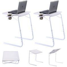 """2 x Table Mate Adjustable PC TV Laptop Desk Tray Home Office s/ Cup Holder White. Lightweight and foldable, convenient for storage and transport. Product size: 20.4"""" x 18.5"""" x 20.8""""-28.1""""(L x W x H). Height range: 20.8"""" - 28.1"""" (6 adjusting levels). Size of panel: 20.4"""" x 15.5""""(L x W). Package include: 2 x adjustable computer desk; US Stock!."""
