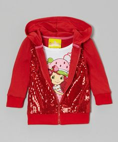 Take a look at this Red Sequin Zip-Up Hoodie & Tee - Toddler & Girls by Strawberry Shortcake on #zulily today!