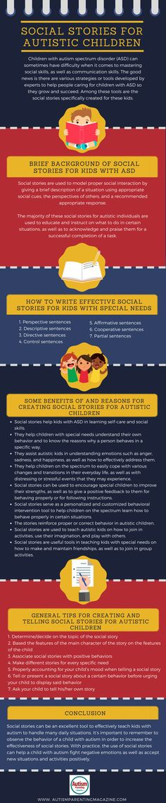 Children with autism spectrum disorder (ASD) can sometimes have difficulty when it comes to mastering social skills, as well as communication skills. The good news is there are various strategies or tools developed by experts to help people caring for children with ASD so they grow and succeed. Among these tools are the social stories specifically created for these kids.