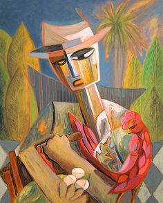 Ethnic Cuban Cigar Smoker Guajiro Wearing Straw Hat with Surreal Rooster Royal Palms Countryside by SierraFineArt on Etsy