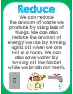 Reduce poster part of 40 pg Earth Day cross curricular packet all common core aligned