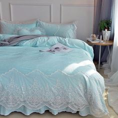 Tiffany Blue Baroque Style Tribal Vintage Victorian Lace Attached Dust Ruffle Elegant Soft Feminine Flannel Full, Queen Size Sets bedrooms tiffany High Fashion Bedding Sets at affordable price Shabby Chic Bedrooms, Bedroom Vintage, Trendy Bedroom, Modern Bedroom, Tiffany Blue Bedding, Blue Bedding Sets, Tiffany Bedroom, Purple Bedrooms, Bedroom Green