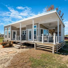 Architecture House Discover Extremely Oversized Tiny House With Large Wraparound Porch! Extremely Oversized Tiny House With Large Wraparound Porch! Tyni House, Tiny House Cabin, Tiny House On Wheels, Small House Plans, House With Porch, L Shaped Tiny House, House On Stilts Plans, Home Depot Tiny House, Small House Kits