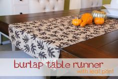 Burlap Table Runner with Leaf Prints