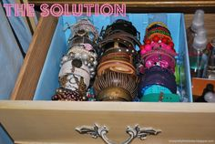 upcycle paper towel rolls and a cardboard box for this diy solution to bracelet storage. Great idea ~ msut try! #ecrafty