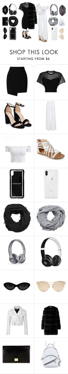 """""""Black and White"""" by izzwhizzicorn on Polyvore featuring Alexander Wang, Nasty Gal, Federica Tosi, Givenchy, Rebecca Minkoff, MANGO, Beats by Dr. Dre, Christian Dior, Calvin Klein 205W39NYC and Victoria Beckham"""