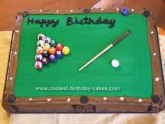 Homemade Pool Table Birthday Cake: I made this Pool Table Birthday Cake recently for my dad's 60th birthday. First I made a white cake. Any cake could be used for this. I used a large rectangle